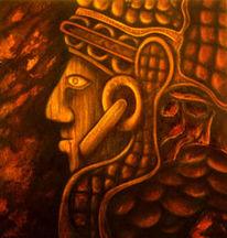 Malerei, Acrylmalerei, Kopf, Inka