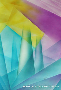 Kubismus, Abstrakt, Airbrush, Malerei