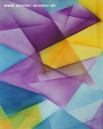 Airbrush, Malerei, Abstrakt, Kubismus