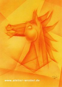 Kubismus, Abstrakt, Airbrush, Pferde