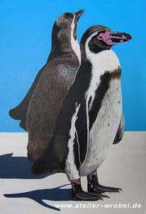 Tiere, Acrylmalerei, Pinguin, Malerei
