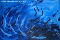 Acrylmalerei, Tiere, Wasser, Tauchen