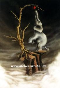 Airbrush, Elefant, Malerei, Landschaft