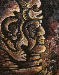 Kopf, Malerei, Inka, Acrylmalerei