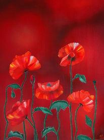 Ölmalerei, Mohnblumen, Blumen, Malerei