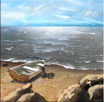 Meer, Strand, Boot, Malerei