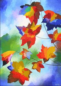 Abstrakt, Farben, Herbst, Ölmalerei