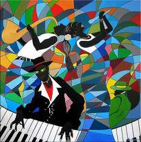 Jazz, Quartett, Acrylmalerei, Malerei