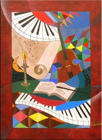 Sonate, Mondschein, Acrylmalerei, Malerei