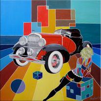 Oldtimer, Auto, Malerei, Figural