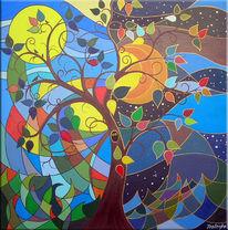 Nacht, Acrylmalerei, Tag, Malerei