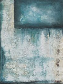Weiß, Blau, Mischtechnik, Acrylmalerei