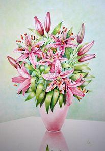 Blüte, Buntstiftzeichnung, Blumen, Vase