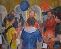 Stadt, Kinder, Luftballon, Malerei