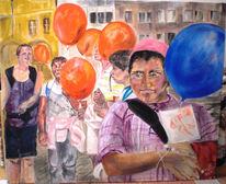 Luftallons, Kinder, Malerei, Menschen