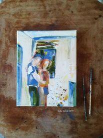 Paar, Küche, Abstrakt, Liebe