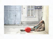 Betrunken, Mann, Straße, Ballon