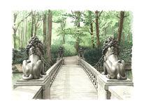 Park, Tiergarten, Brücke, Aquarell