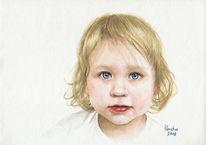 Portrait, Mädchen, Aquarell, Menschen