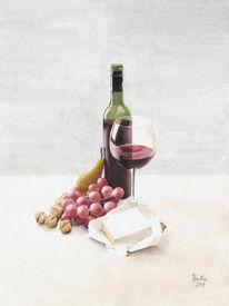 Stillleben, Aquarell, Wein