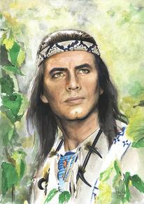 Portrait, Indianer, Aquarell