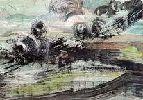 Unwetter, Aquarellmalerei, Gewitter, Wind