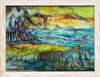Felsen, Meer, Malerei abstrakt, Brandung