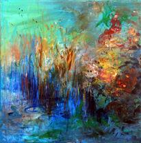 See, Teich, Blumen, Wind