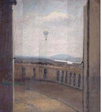 Malerei, Balkon, Ballon