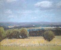 Landschaft, Pastellmalerei, Donau, Malerei
