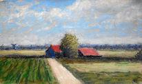 Feld, Himmel, Häuser, Malerei