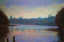 Donau, Regensburg, Pastellmalerei, Malerei