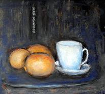 Tasse, Zitrone, Stillleben, Malerei