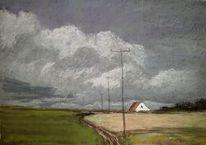 Licht, Wolken, Haus, Malerei