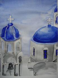 Santorin, Aquarellmalerei, Kirche, Griechenland