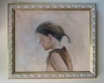 Portrait, Oil mädchen, Malerei, Strand
