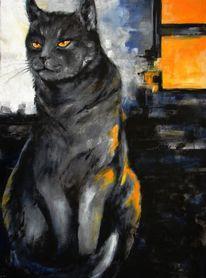 Kater, Katze, Katzenportrait, Acrylmalerei