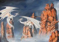 Drache, Ölmalerei, Schloss, Dragoncastle