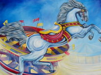 Ölmalerei, Pferde, Flucht, Karussell