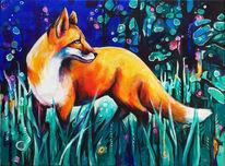 Wald, Fuchs, Zauberwald, Malerei