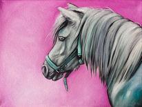 Pferde, Pink, Pony, Ölmalerei