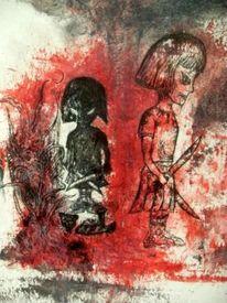 Rot, Aquarellmalerei, Böse, Teddy