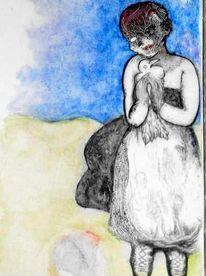 Absurd, Mädchen, Picasso, Taube