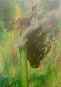 Amsel, Garten, Malerei