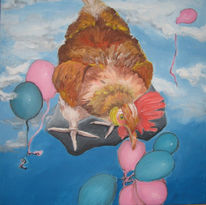 Wolken, Ballon, Himmel, Huhn