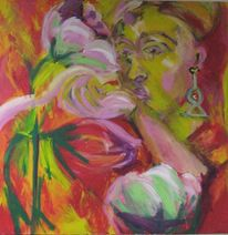 Hand, Blumen, Ohrringe, Frau