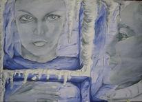 Hand, Eisblöcke, Frau, Malerei