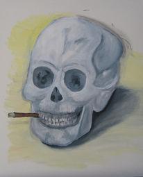 Schädel, Zigarre, Tod, Malerei