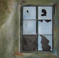 Fenster, Scheibe, Wand, Malerei