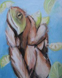 Fisch, Zitrone, Frau, Malerei
